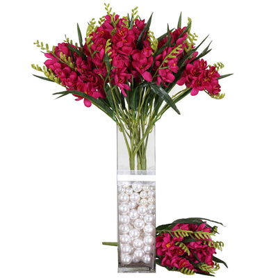 4 Bush 54 pcs Fushia Artificial Freesia Flowers