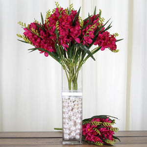 4 Bushes | 54 Pcs | Fushia | Artificial Freesia Flowers