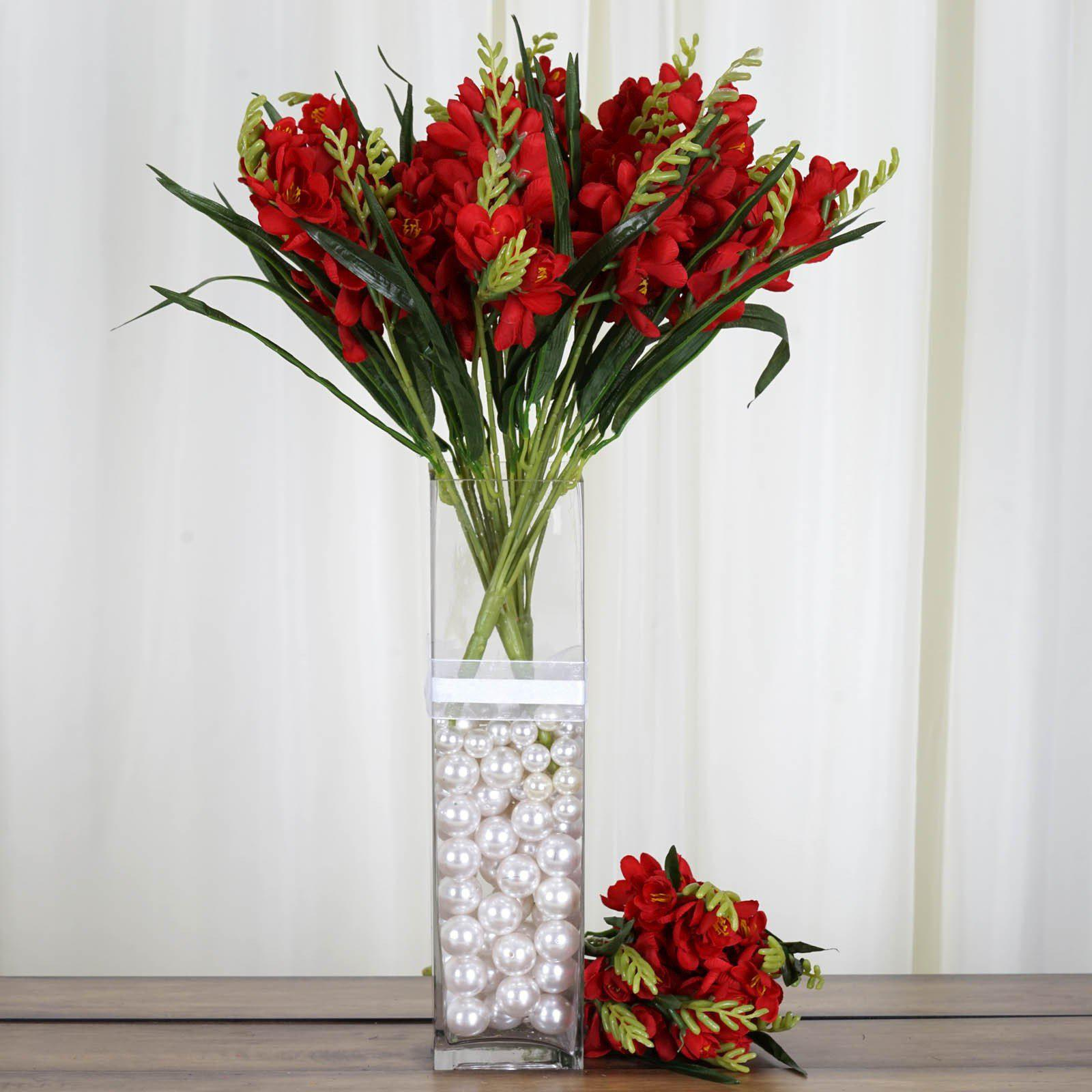 4 Bush 54 pcs Red Artificial Freesia Flower Wedding Vase Decoration ...