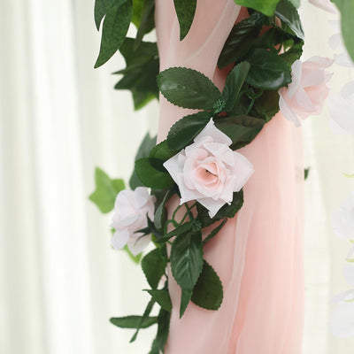 6 Ft Blush | Rose Gold Rose Chain Garland UV Protected Artificial Flower