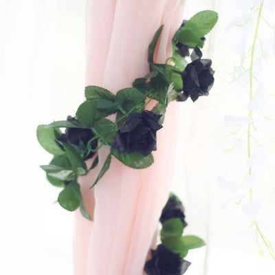 6 FT Black UV Protected Silk Rose Garland | Artificial Wedding Garland | 32 Flowers