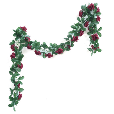 6 Ft Burgundy Rose Chain Garland UV Protected Artificial Flower