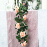 6 Ft Peach Rose Chain Garland UV Protected Artificial Flower