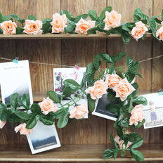 6FT Peach Rose Chain Garland UV Protected Artificial Flower