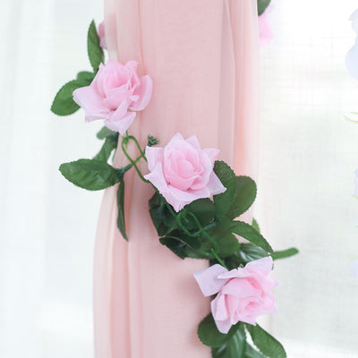 6 Ft Pink Rose Chain Garland UV Protected Artificial Flower
