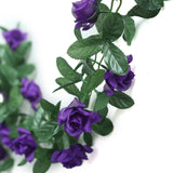 6FT Purple Rose Chain Garland UV Protected Artificial Flower
