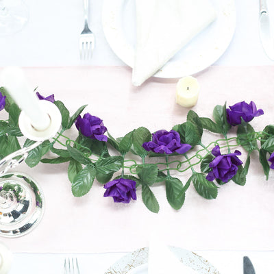 6 Ft Purple Rose Chain Garland UV Protected Artificial Flower
