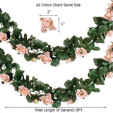 6 Ft Red Rose Chain Garland UV Protected Artificial Flower