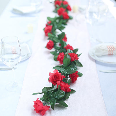 6FT Red Rose Chain Garland UV Protected Artificial Flower