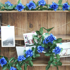 6FT Royal Blue Rose Chain Garland UV Protected Artificial Flower