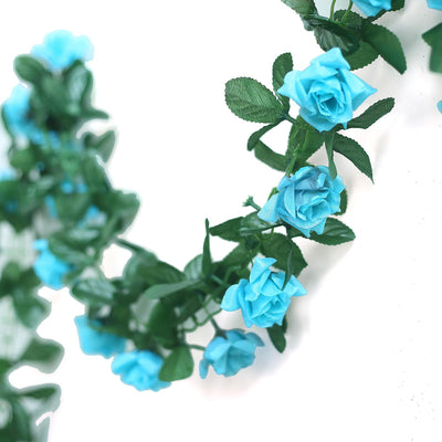 6FT Artificial Rose Silk Flower Chain Garland Wedding Arch Gazebo Decor - Turquoise