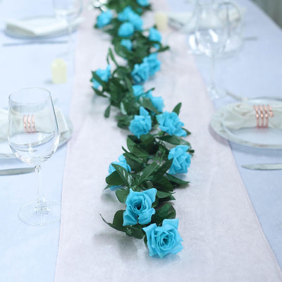 6 Ft Turquoise Rose Chain Garland UV Protected Artificial Flower