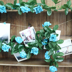 6FT Turquoise Rose Chain Garland UV Protected Artificial Flower