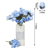12 Bushes | 84 Pcs | Blue | Artificial Velvet Rose Bud Flowers