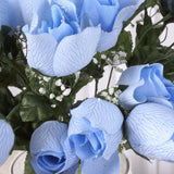 84 Wholesale Artificial Velvet Rose Buds Wedding Vase Centerpiece Decor - Blue