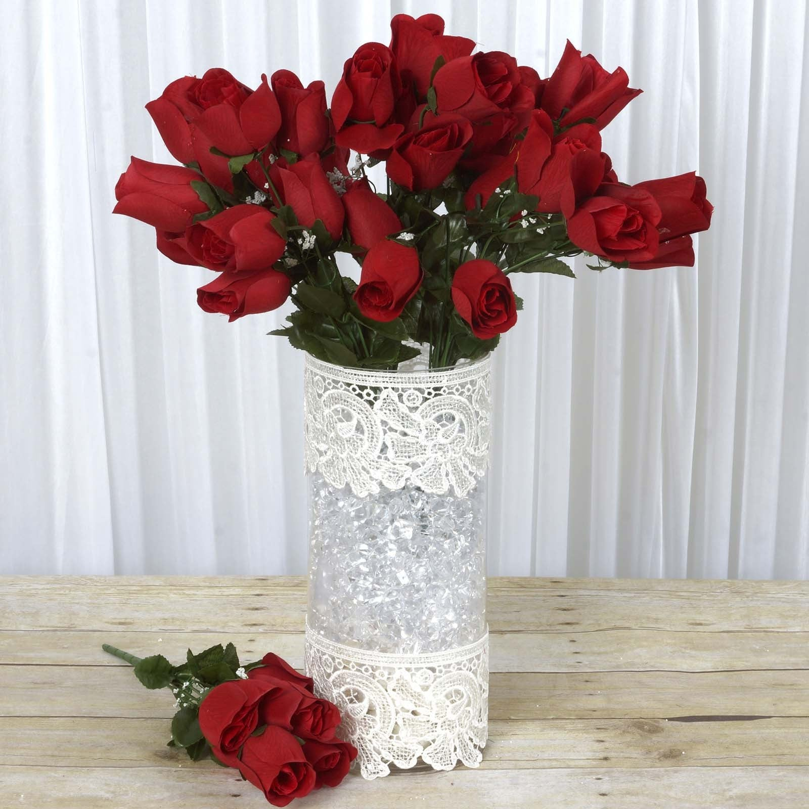 12 Bush 84 Pcs Red Artificial Velvet Rose Bud Flowers Bridal Bouquet