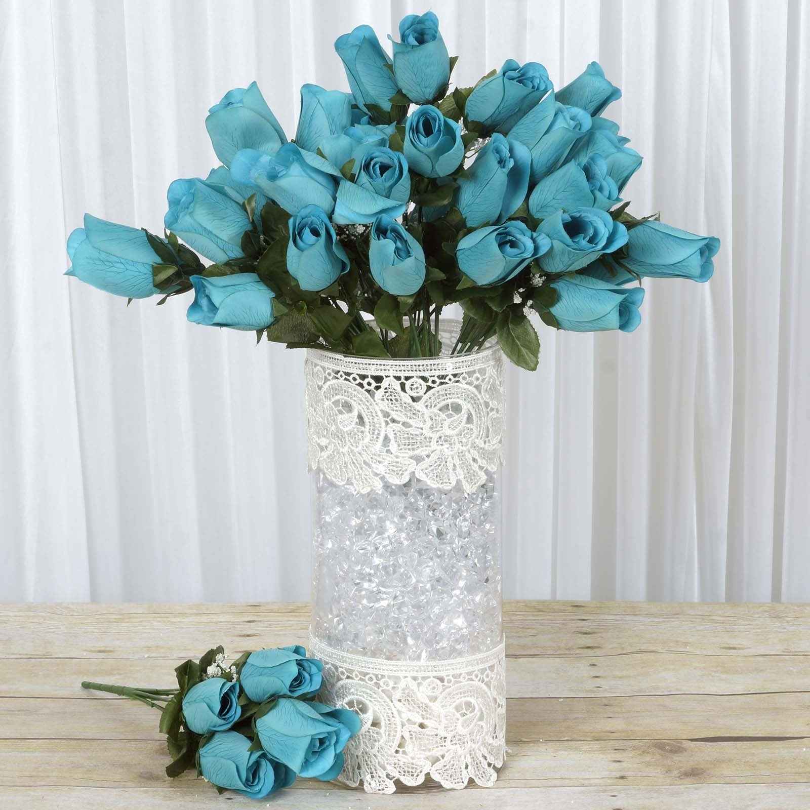 12 Bush 84 pcs Turquoise Artificial Velvet Rose Bud Flowers Bridal ...