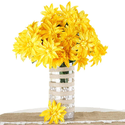 4 Bush 56 Pcs Yellow Artificial Silk Dahlia Flower Bushes