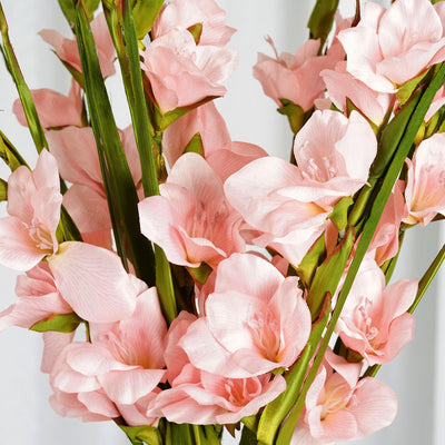 6 Stem 48 Pcs Pink Artificial Gladiolus Stem Flowers - Clearance SALE