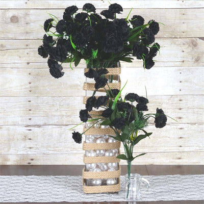12 Bush 252 Pcs Black Artificial Mini Carnation Flowers