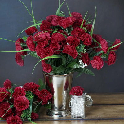 252 Wholesale Carnation Flowers Wedding Vase Centerpiece Decor -Burgundy