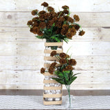 12 Bushes | 252 Pcs | Chocolate | Artificial Mini Carnation Flowers