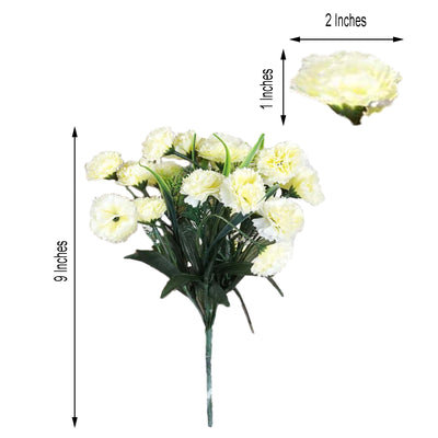 12 Bush 252 Pcs Cream Artificial Mini Carnation Flowers