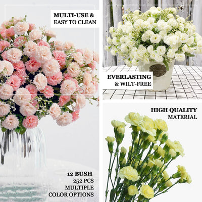 12 Bush 252 Pcs White Artificial Mini Carnation Flowers - Clearance SALE