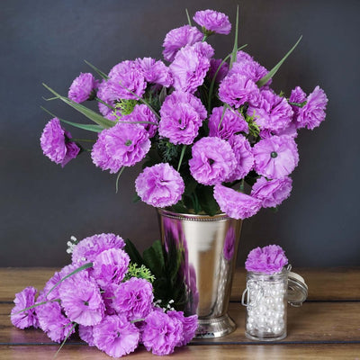 12 Bush 252 Pcs Lavender Artificial Mini Carnation Flowers