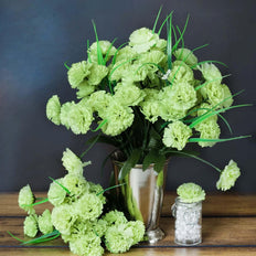 12 Bushes | 252 Pcs | Lime Green | Artificial Mini Carnation Flowers