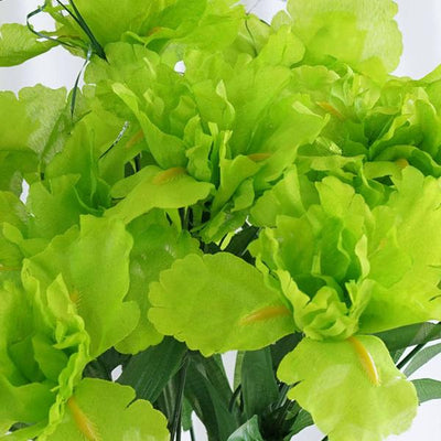 12 Bush 60 Pcs Lime Artificial Silk Iris Flowers
