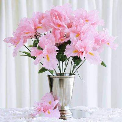 60 Artificial Silk Iris Flowers Wedding Vase Centerpiece Decor - Pink