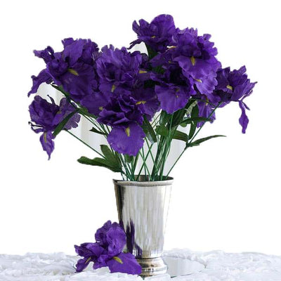 12 Bush 60 Pcs Purple Artificial Silk Iris Flowers