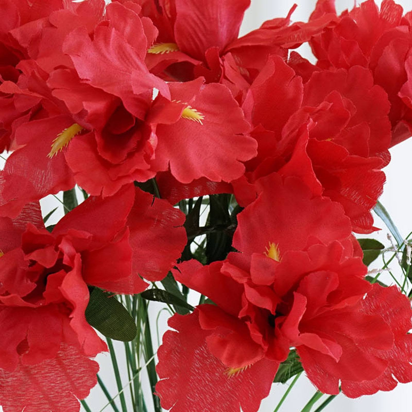 12 Bush 60 Pcs Red Artificial Silk Iris Flowers Tablecloths