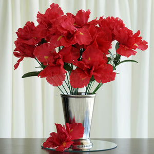 12 Bush 60 Pcs Red Artificial Silk Iris Flowers