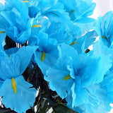 12 Bush 60 Pcs Turquoise Artificial Silk Iris Flowers