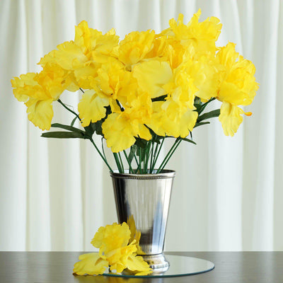 12 Bush 60 Pcs Yellow Artificial Silk Iris Flowers