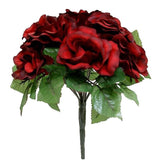 56 Artificial Velvel Rose Flowers Bridal Bouquet Wedding Vase Centerpiece Decor - Black/Red