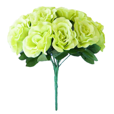 4 Pack 56 Pcs Lime Green Artificial Velvet Rose Flowers - Clearance SALE