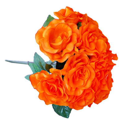 4 Pack 56 Pcs Orange Artificial Velvet Rose Flowers