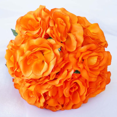 56 Artificial Velvel Rose Flowers Bridal Bouquet Wedding Vase Centerpiece Decor - Orange