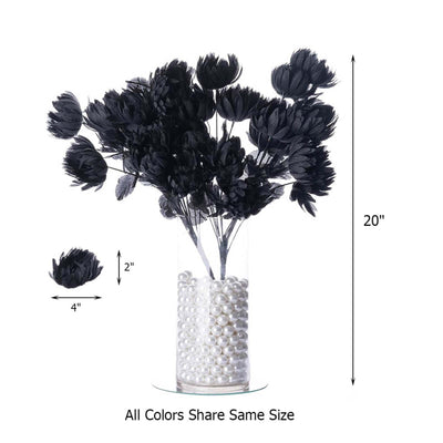 4 Bush 56 Pcs Black Artificial Giant Silk Chrysanthemum Flowers - Clearance SALE