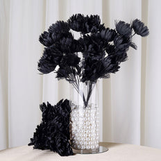 4 Bush 56 Pcs Black Artificial Giant Silk Chrysanthemum Flowers