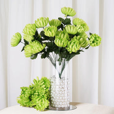 "4 Bushes | 56 Pcs | 20"" Lime Artificial Chysanthemum Flowers 