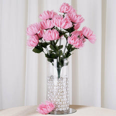 4 Bushes | 56 Pcs | Pink | Artificial Giant Silk Chrysanthemum Flowers
