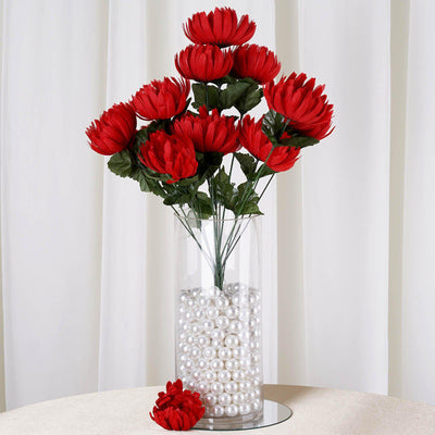4 Bushes | 56 Pcs | Red | Artificial Giant Silk Chrysanthemum Flowers