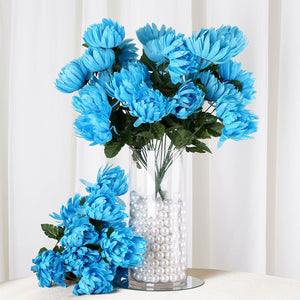 4 Bushes | 56 Pcs | Turquoise | Artificial Giant Silk Chrysanthemum Flowers