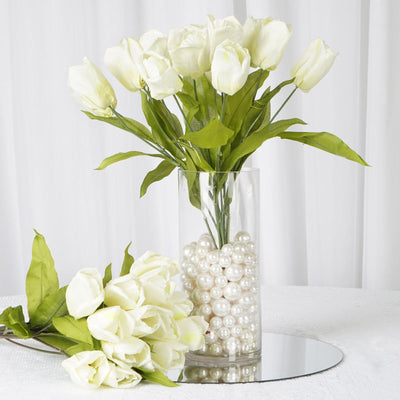 4 Bush 56 Pcs Cream Artificial Silk Tulip Flowers