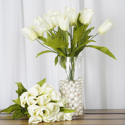 56 Artificial Tulip Flowers Wedding Vase Centerpiece Decor - Cream