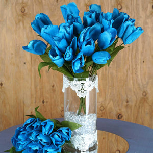 56 Artificial Tulip Flowers Wedding Vase Centerpiece Decor - Turquoise